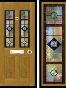 Stained glass door panels 004