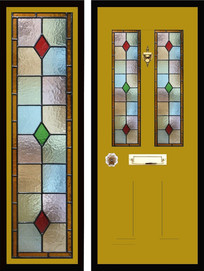 Stained glass door panels 037