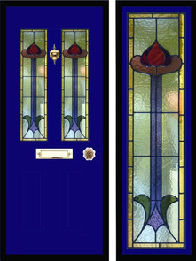 Stained glass door panels 033