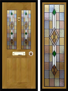 Stained glass door panels 045