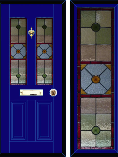 Stained glass door panels 050