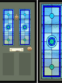 Stained glass door panels 023