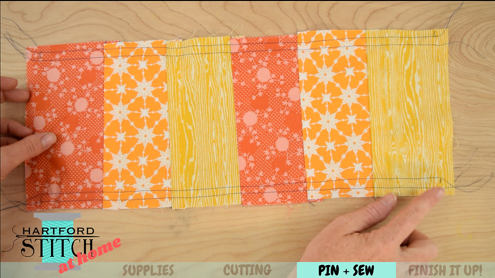 How to gather fabric for a scrap fabric handmade pumpkin sewing tutorial by Hartford Stitch.