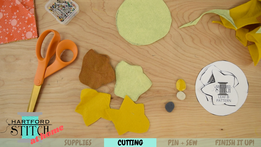 Felt leaves for handmade fabric pumpkin sewing tutorial.