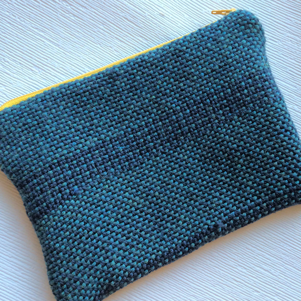 Zipper Pouch with Handwoven fabric