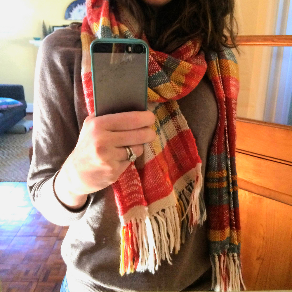 Scarf with Handwoven Fabric