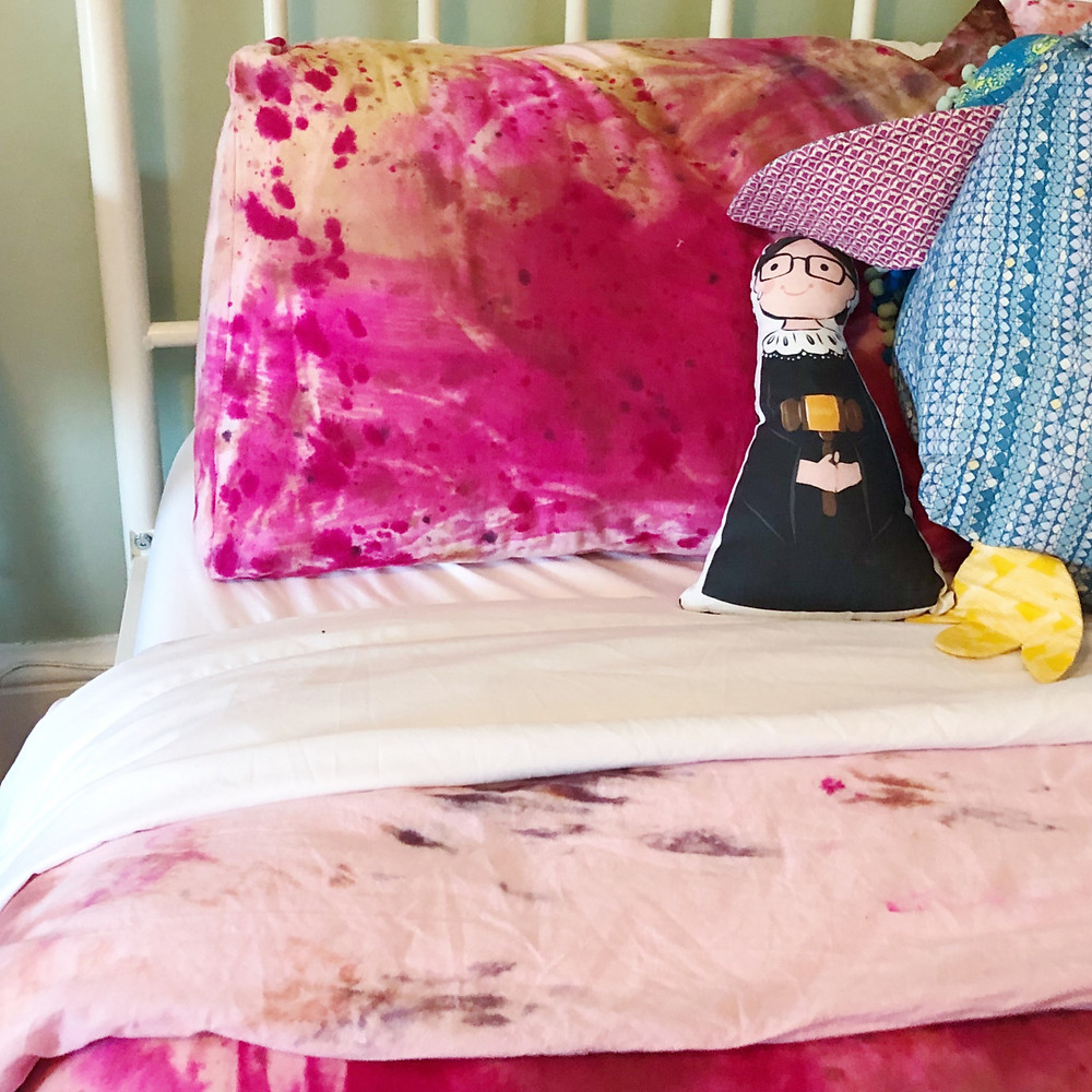 Pink and orange dye splattered duvet cover and pillowcase with RBG Sophie and Lilli doll