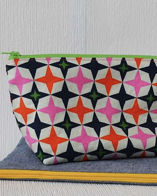 Zipper Pouch with retro black, orange, pink and green fabric