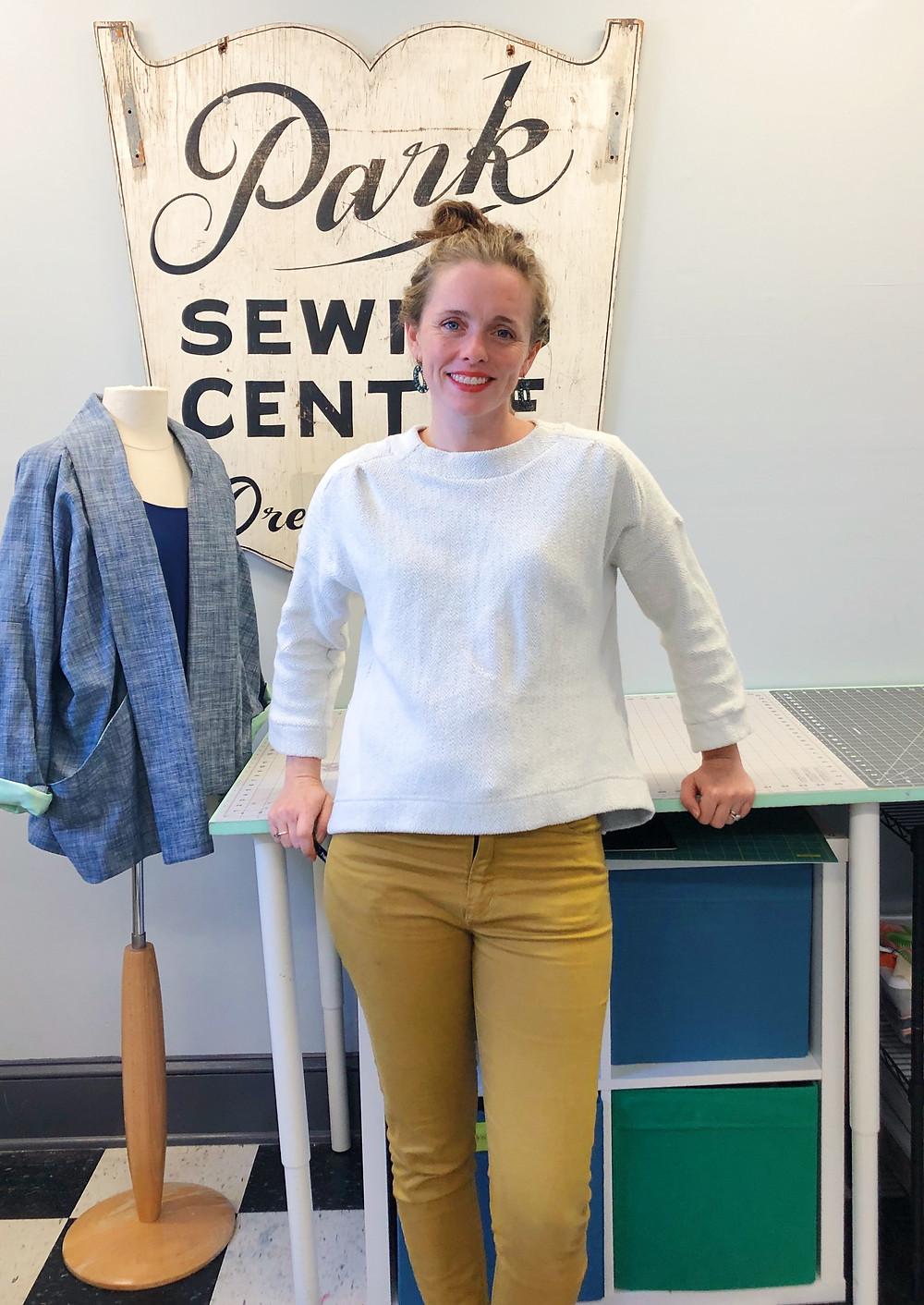 White sweatshirt knit Bess Top (Imagine Gnats)