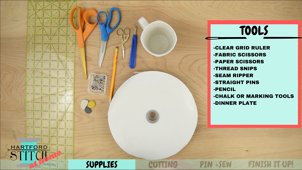 Tools needed for Hartford Stitch at Home video on handmade placemats to sew at home.