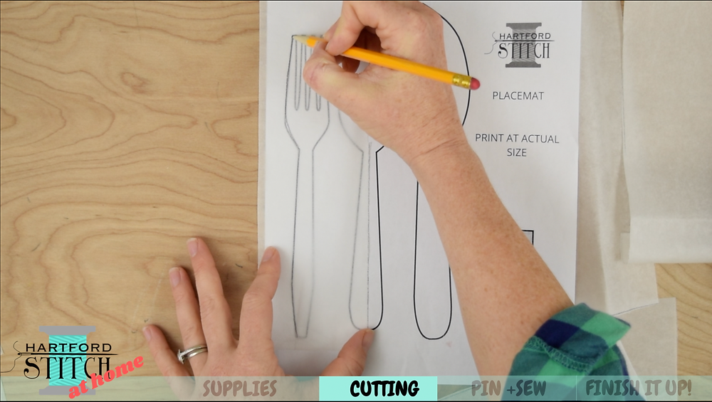 How to use double sided fusible webbing for applique on the Hartford Stitch at Home video on handmade placemats to sew at home.