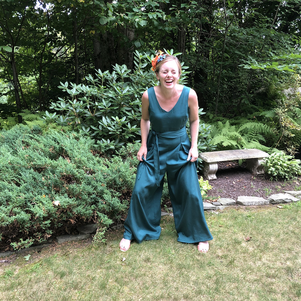 McCalls 7608 Wide Legged Jumpsuit in Mallard Tencel Twill from Blackbird Fabrics