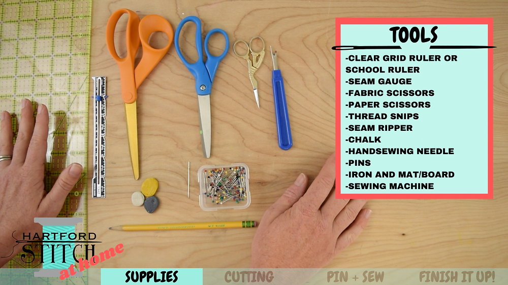 Tools needed to sew scrappy fabric pumpkins including ruler, scissors, pins, chalk, and seam ripper.