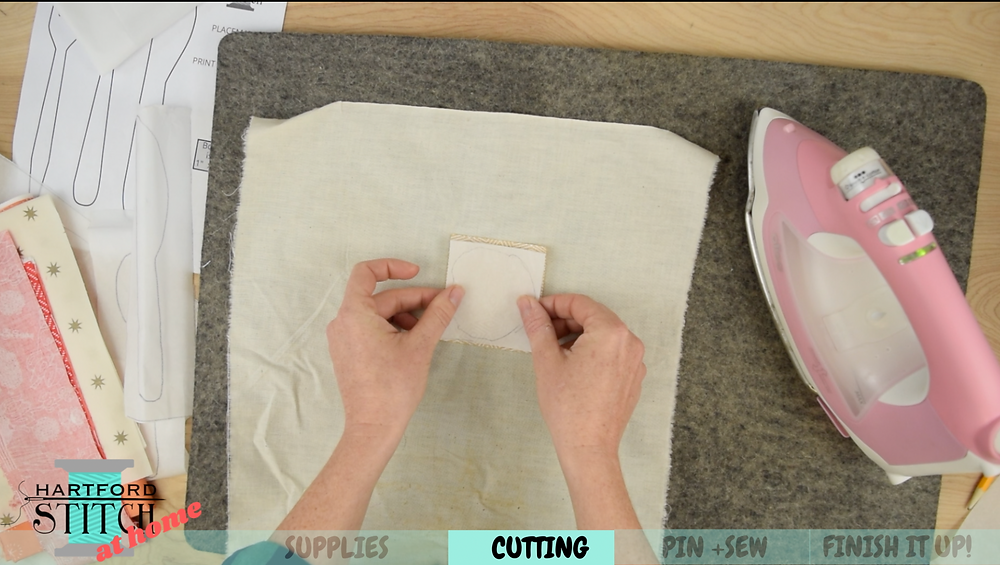 How to iron on double sided fusible webbing for fabric applique for Hartford Stitch at Home video on handmade placemats to sew at home.
