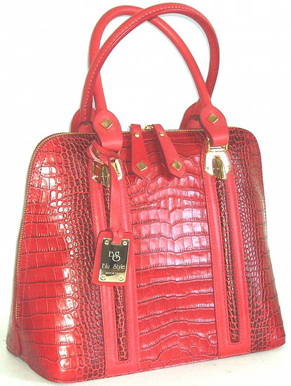 Embbossed Alligator Leather Bag