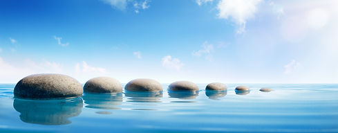Step Stones In Blue Water - Zen Concept.
