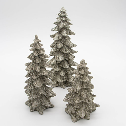 Glitter Silver Trees 3 Sizes