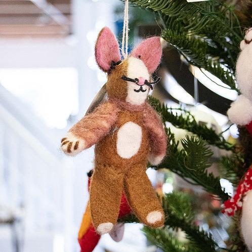 "Mouse Wool Felt Ornament/Finger Puppet 6.5"""