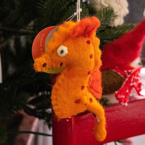 "Seahorse Wool Felt Ornament/Finger Puppet  6"""