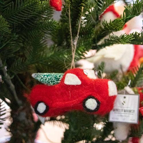 "Truck w/Tree Handmade Felt 4"""