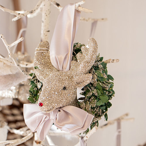 "Rudolf w/Pine Wreath 4.5"""