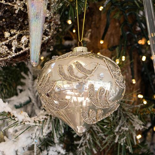 "Glass Metallic Gold w/Beaded Scroll Decoration 4"""