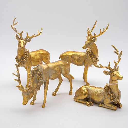 "Deer Resin Antique Gold Set/4  5"", 6"", 8.5"", 8.75"""