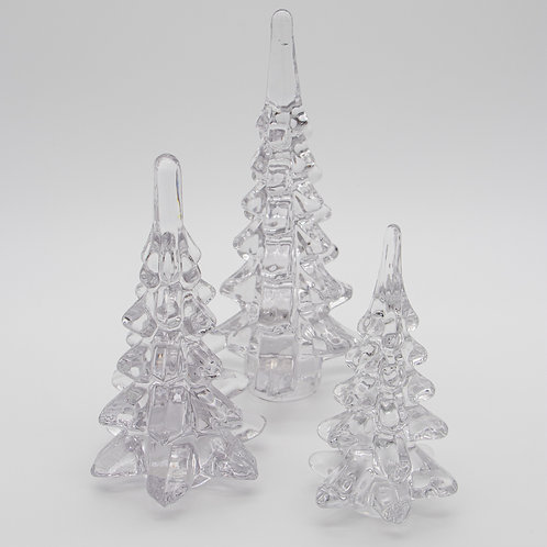 "Clear Glass Trees Set/3  6.5"", 8"", 10"""
