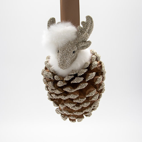 Hanging Deer Pinecone on Satin Ribbon 14""