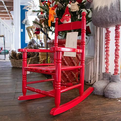 "Childrens Wood Red Rocking Chair 23""Hx11""D"