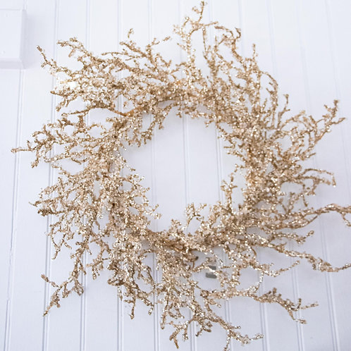 Artificial Wreath Gold Crystal 26""