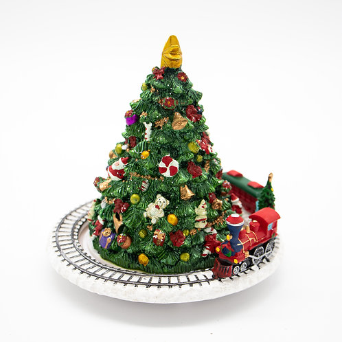 "Musicbox Tree w/Circling Train 6""Hx6""W"