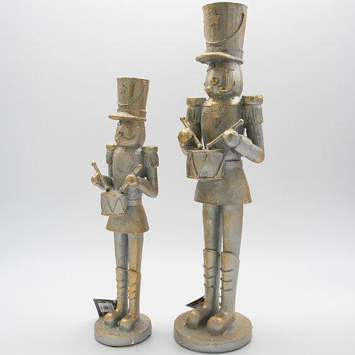 Nutcracker w/Drum Silver/Gold 2 Sizes