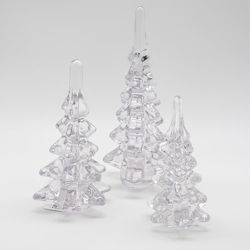 "Trees Clear Glass Set/3 6.5"", 8"", 10"""