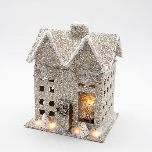 """Glitter House w/Lights 10""""Hx7""""Wx5.5""""D"""