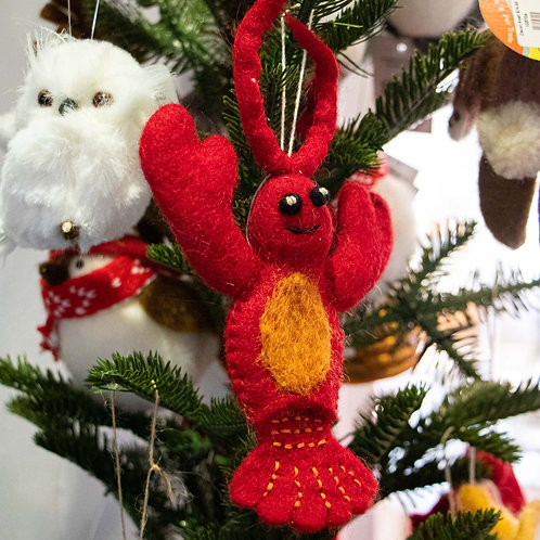 Lobster Wool Felt Ornament/Finger Puppet 8""