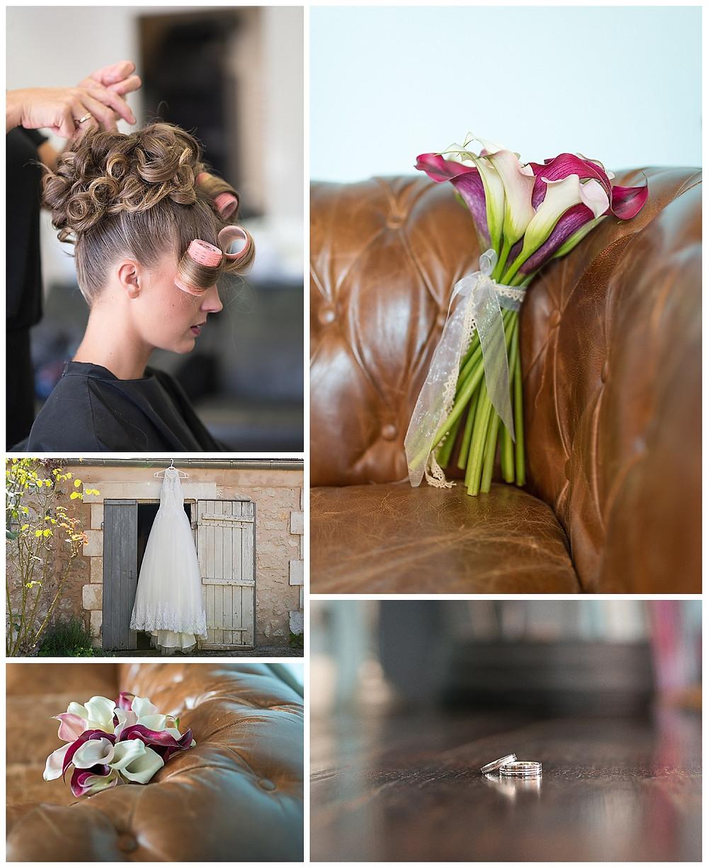 préparation mariée fleurs