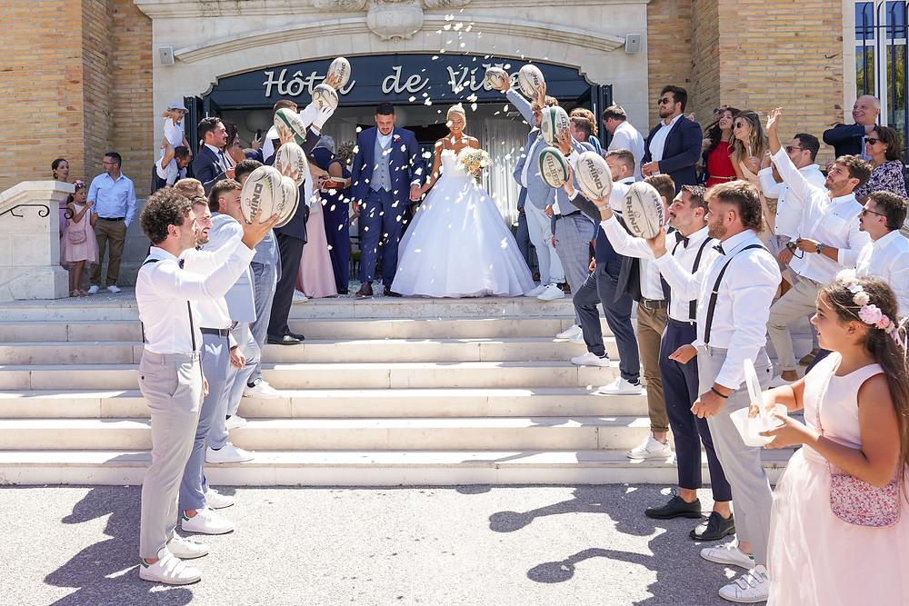 Sortie des mariés mairie de Gujan-mestras