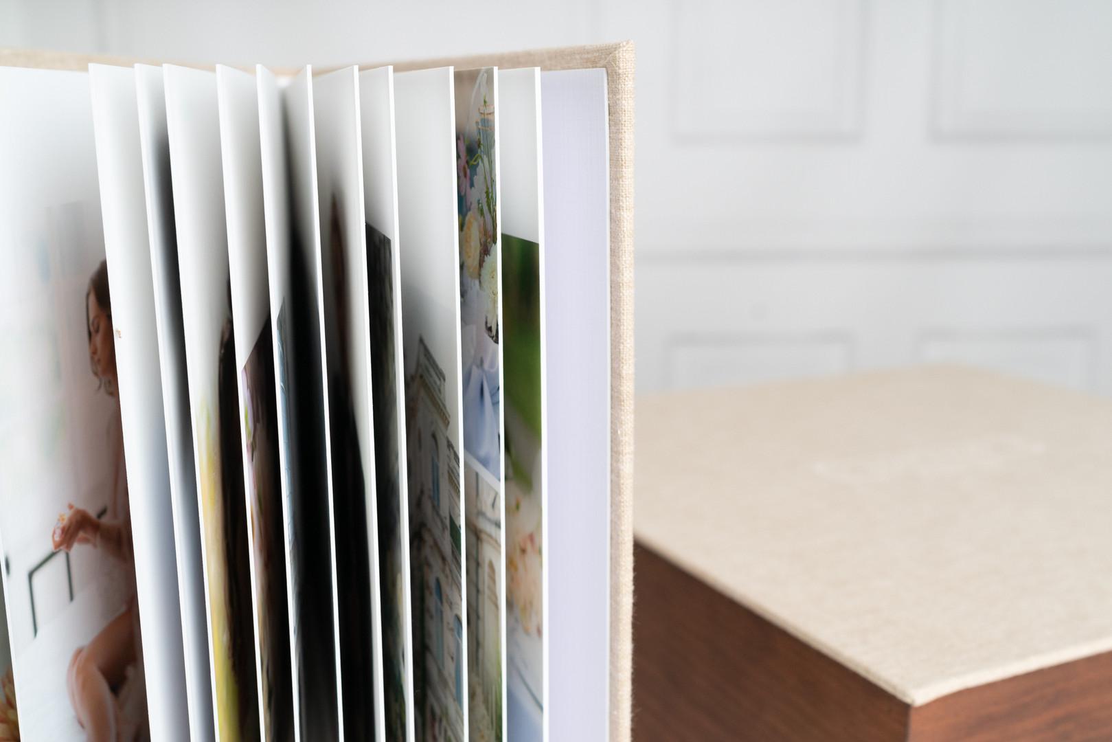 Coffret livre photo bois et lin