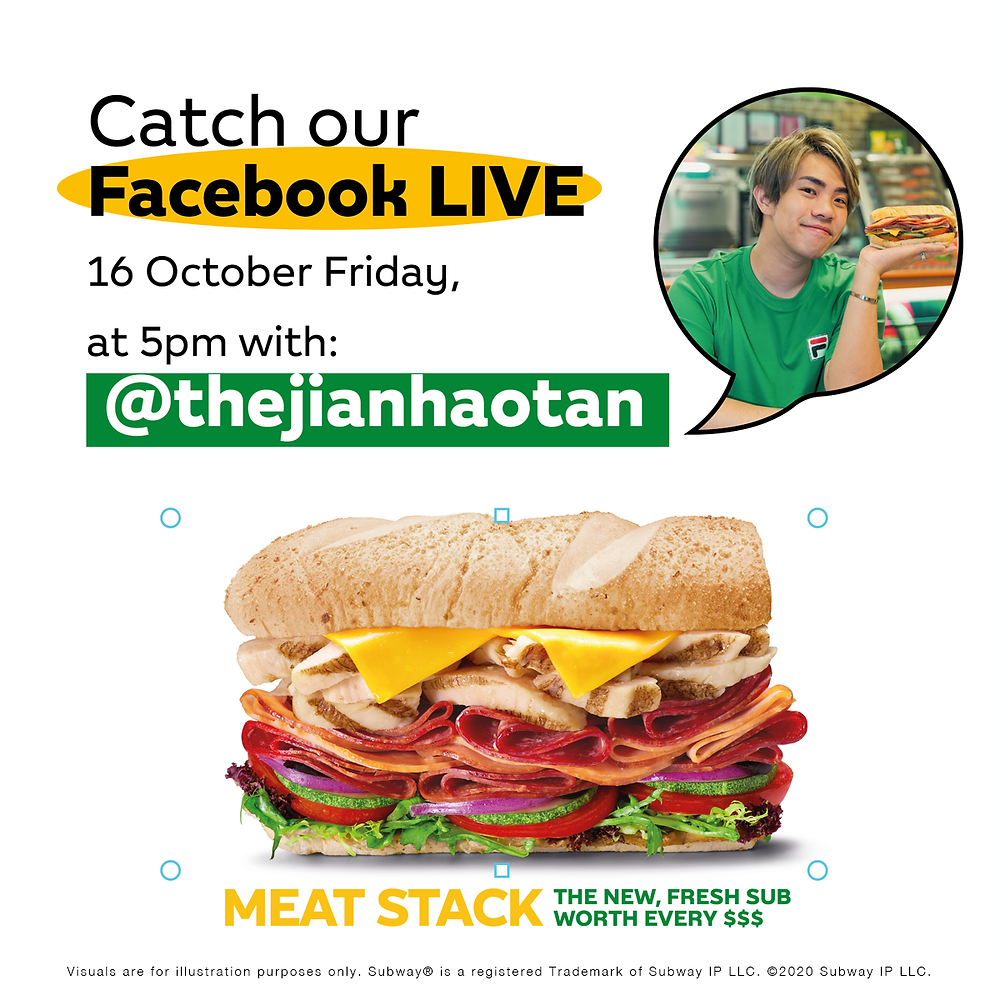 Well-known local YouTuber promoting Subway's new Sub by going live on Facebook