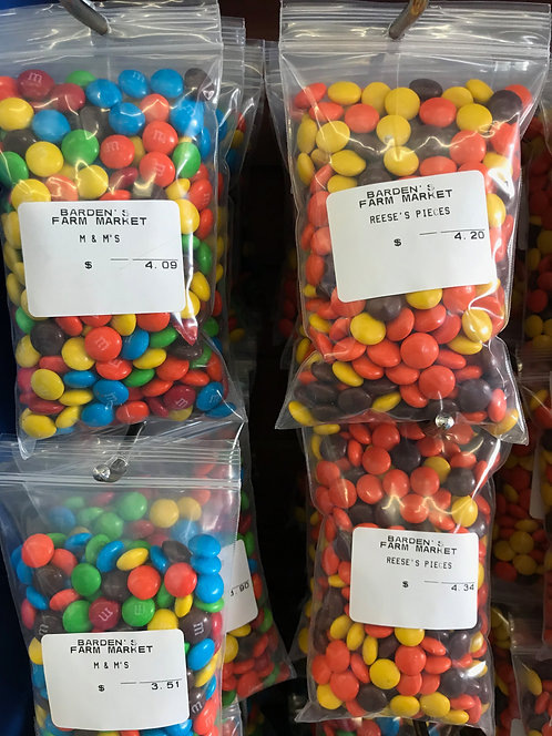 M&M and Reeces Pieces