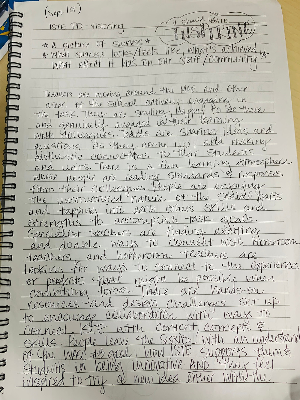 Photo of a journal page