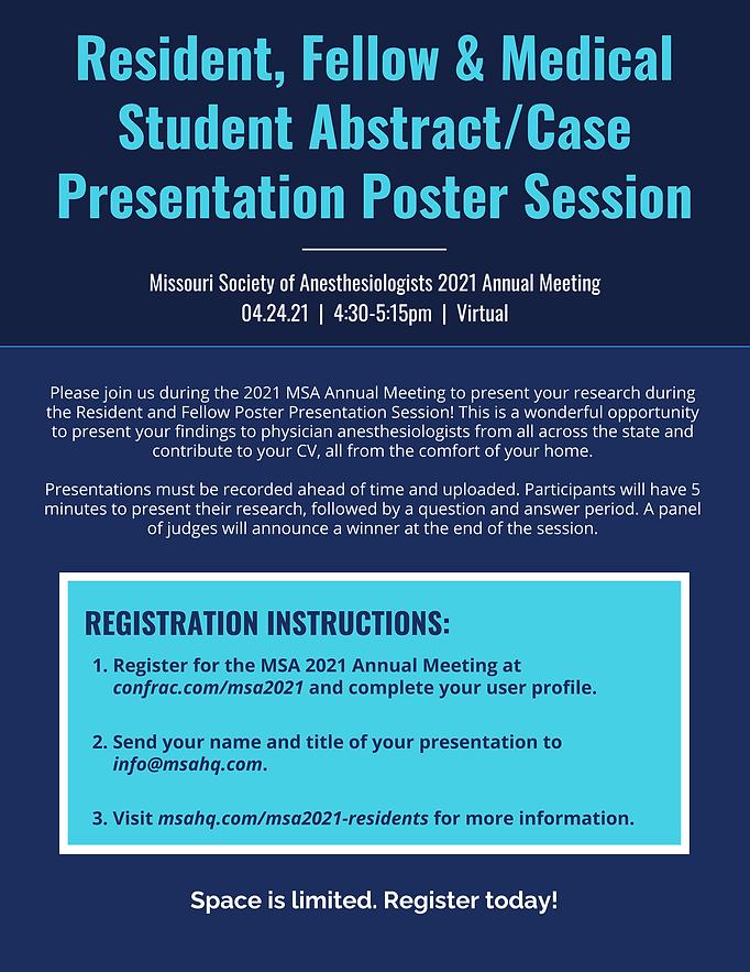 msa 2021 resident poster session flyer p