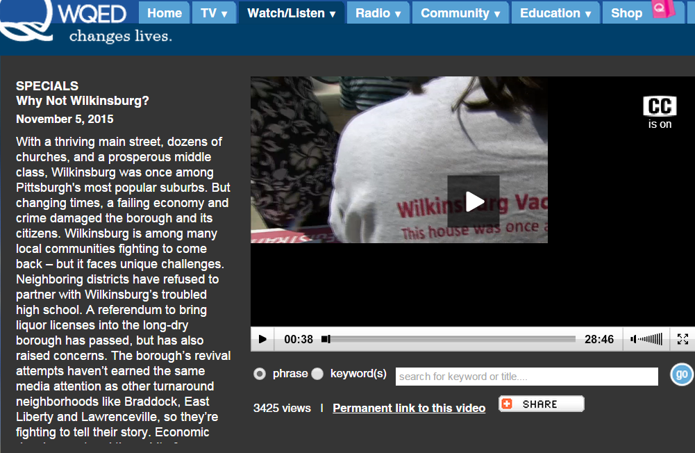 """Our Vacant Home Tour Project is featured on this great documentary about Wilkinsburg Borough by WQED. """"Why Not Wilkinsburg?"""" is a film written and directed by Minette Seate."""