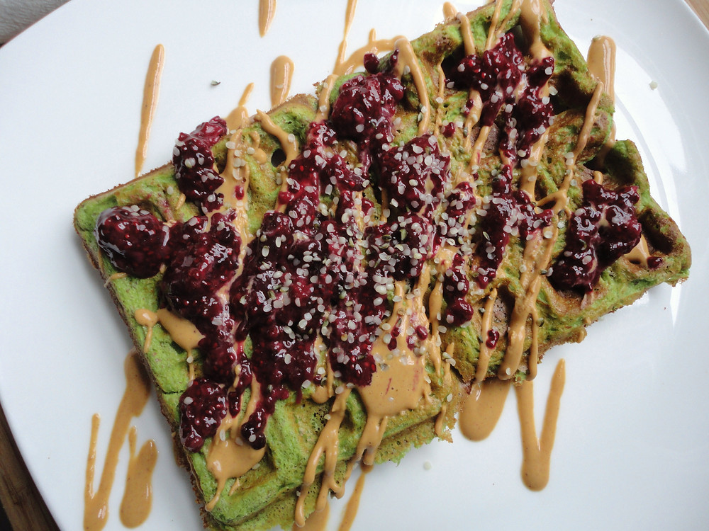 Spinach Protein Waffles