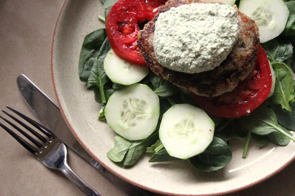 Quick & Healthy Dinner: Turkey Quinoa Burgers w/ Hemp Heart Tzatziki
