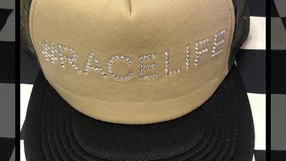 "Camo ""#Racelife"" rhinestone trucker hat"