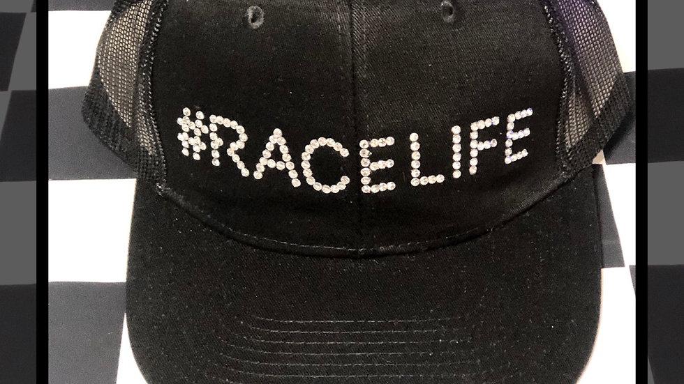 "Black ""#Racelife"" rhinestone trucker hat"
