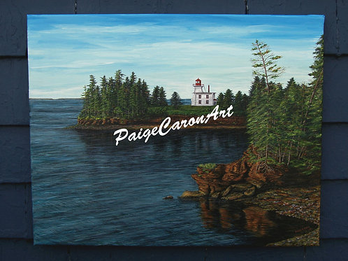 """Blockhouse Lighthouse"", PEI - Original Acrylic Painting"