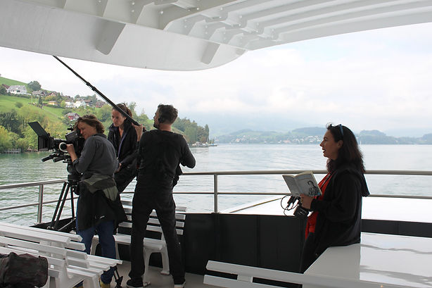 Filming on the lake in Lucerne